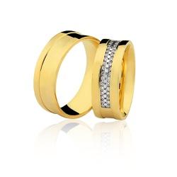 Alianças de Casamento em Ouro 18K com Brilhantes -... - RDJ JÓIAS