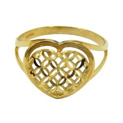 Anel Coração em Ouro 18K Diamantado - J03002234 - RDJ JÓIAS
