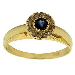 Anel de Ouro 18K cravejado com Diamantes e Safira ... - RDJ JÓIAS
