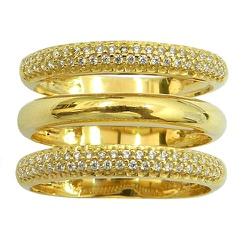 Maxi anel de Ouro 18k cravejado com Zircônias - J0... - RDJ JÓIAS