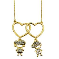 Gargantilha em ouro 18k Coração com Filhos - J061... - RDJ JÓIAS
