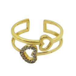 Anel de ouro 18k Coração com Zircônia - J06105924... - RDJ JÓIAS