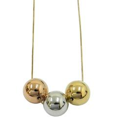 Gargantilha em Ouro 18k 3 Bolas de 10mm - J0640019 - RDJ JÓIAS