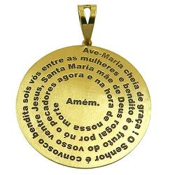 Medalha com Oração Ave Maria completa em Ouro 18K ... - RDJ JÓIAS
