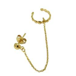Brinco Ear Cuff em Ouro 18k Bolinhas com corrente ... - RDJ JÓIAS