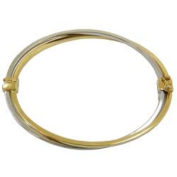 Bracelete Feminino em Ouro Branco e Amarelo Italia... - RDJ JÓIAS