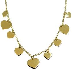 Gargantilha de Ouro 18k com Corações - J12702295 - RDJ JÓIAS