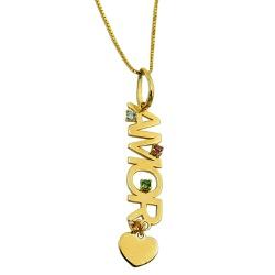 Pingente de ouro 18k Amor com pedras naturais - J1... - RDJ JÓIAS