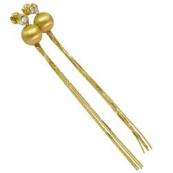 Brincos Longos de Bola em Ouro 18K - J12800894 - RDJ JÓIAS