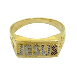 Anel de ouro 18k escrito Jesus - J15302458 - RDJ JÓIAS