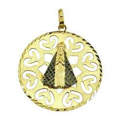 Pingente Medalha de Nossa Senhora Aparecida em Our... - RDJ JÓIAS