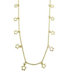Gargantilha com Estrelas Vazadas em Ouro - J180008... - RDJ JÓIAS