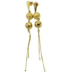 Brinco Longo com Bolas em Ouro 18K - J18400366 - RDJ JÓIAS