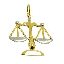 Pingente de Direito em Ouro Branco e Amarelo - J18... - RDJ JÓIAS