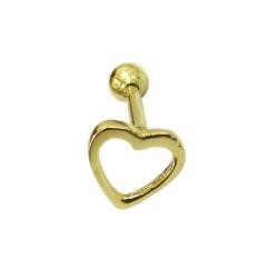 Piercing de Orelha em Ouro 18k Coração Vazado - J1... - RDJ JÓIAS