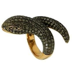 Anel de ouro 18k de Cobra com Diamantes - JAR00042... - RDJ JÓIAS
