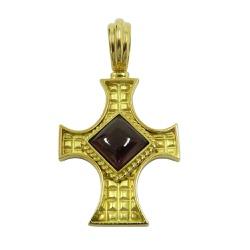 Crucifixo em Ouro 18k com Granada - JPGR0001210-8 - RDJ JÓIAS