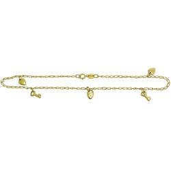 Tornozeleira de ouro 18k de pingentes - JT04700321 - RDJ JÓIAS