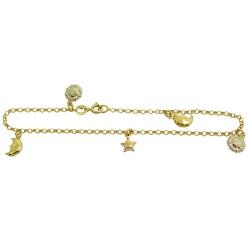 Tornozeleira de ouro 18k com Lua, Estrela e Sol - ... - RDJ JÓIAS