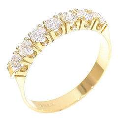 Meia Aliança Ouro 18K 750 com Diamantes - 01000220... - RDJ JÓIAS