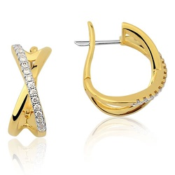 Par de Brincos de Ouro 18K com Diamantes Bruner - ... - RDJ JÓIAS