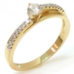 Anel Solitário em ouro com brilhantes - 0800592030 - RDJ JÓIAS