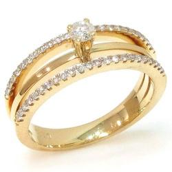 Anel Solitário em ouro com brilhantes - 0800602048 - RDJ JÓIAS