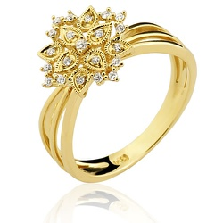 Anel Flor em Ouro 18K 0750 com Brilhantes - 14291... - RDJ JÓIAS
