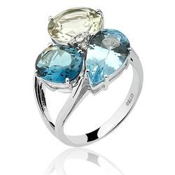 Anel de Ouro 18K com Topázio Azul - 1430891686 - RDJ JÓIAS