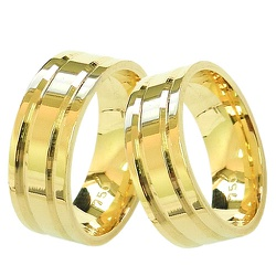 Modelos de Alianças de Casamento Quadradas Ouro 18... - RDJ JÓIAS