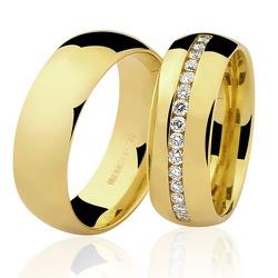 Aliança de Casamento Boleada em Ouro 18K com Brilh... - RDJ JÓIAS