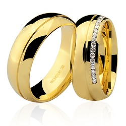 Alianças de Casamento Top de Ouro 18K cravejada co... - RDJ JÓIAS