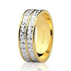 Alianças de Bodas de Prata Diamantadas em Ouro 18K... - RDJ JÓIAS