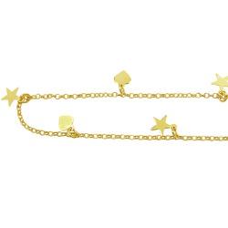 Tornozeleira em Ouro com Corações e Estrelas - J05... - RDJ JÓIAS