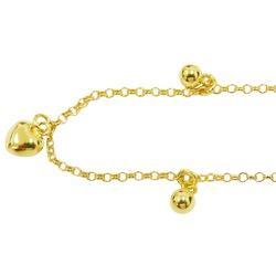 Tornozeleira em Ouro com Coração e Bolinhas - J058... - RDJ JÓIAS