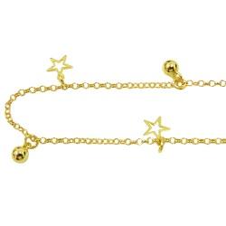 Tornozeleira de Ouro com Bolinhas e Estrelas - J05... - RDJ JÓIAS