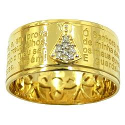 Anel Oração Nossa Senhora Aparecida em Ouro com Br... - RDJ JÓIAS