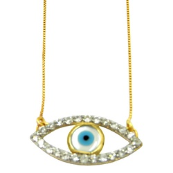 Gargantilha olho grego de ouro 18k com zircônias -... - RDJ JÓIAS