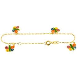 Pulseirinha de ouro com borboletas coloridas Baby ... - RDJ JÓIAS