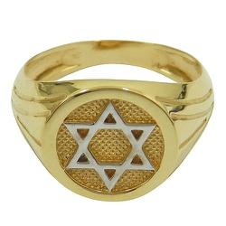 Anel de Ouro Masculino Estrela de David - J0610294 - RDJ JÓIAS