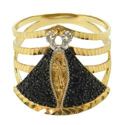 Anel de Nossa Senhora Aparecida em Ouro com Safira... - RDJ JÓIAS