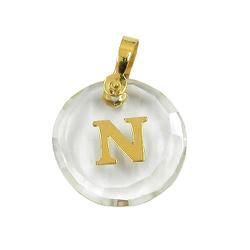 Pingente de Cristal com Letra Ouro 18K - J02100338 - RDJ JÓIAS