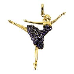 Pingente Bailarina de Ouro 18K com Zircônia - J12... - RDJ JÓIAS