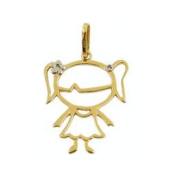 Pingente Menina em Ouro com Brilhantes - J07600067 - RDJ JÓIAS
