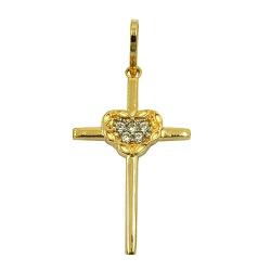 Pingente Feminino de Ouro Cruz e Coração - J153009... - RDJ JÓIAS