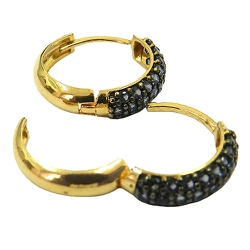 Brincos de Ouro com Pedras de Zircônia Azul - J127... - RDJ JÓIAS