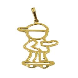 Pingente de Ouro 18K Menino com Skate - J12701118 - RDJ JÓIAS