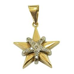 Pingente Estrela de Ouro com Brilhantes - JPGR000... - RDJ JÓIAS