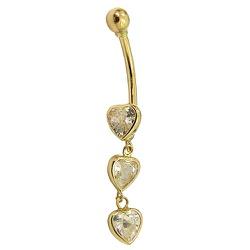 Piercing Feminino de Ouro 18K 3 Corações - J12700... - RDJ JÓIAS