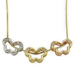 Gargantilha de Borboletas em Ouro 18k com Brilhant... - RDJ JÓIAS